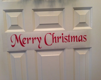 Merry Christmas SALE NOW  3.99  was  5.00  vinyl wall decal quote words holiday decor car decal made in usa