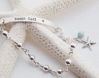 Beach Girl Sterling Silver Personalized Bracelet