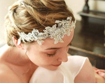 Silver wedding headband, rhinestone headband, bridal headdress, crystal headpiece - style 208