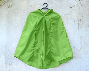 Green Apple Rain Coat,  Vintage Inspired Cape with Hood, Waterproof, Gift For Her, Available in Violet, Orange, Yellow, Sky Blue