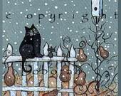 Snowflake Watching a small Cat, Garden Snow, Birdhouse PRINT by Deborah Gregg