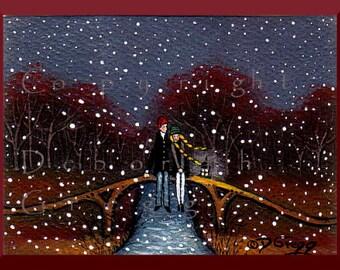 Meet Me On The Bridge   a tiny  Love Valentines Snow Fall PRINT by Deborah Gregg