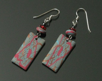 Unique Red & Blue Tribal Earrings, Rustic Boho Dangle Earrings, Earthy Tribal Art Jewelry, Gift for Her, Womens Gift, Unique Jewelry Gift