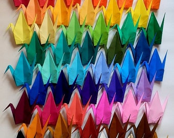 100 Large Origami Cranes Origami Paper Cranes - Made of 15cm 6 inches Japanese Paper - 50 Different Colors