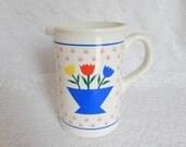vintage tulip pitcher, water pitcher, milk jug, kitchen decor, yellow red blue tulips design