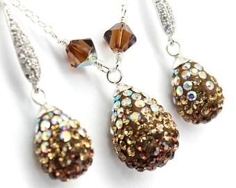 Champagne Gold Jewelry Set,Rhinestones Necklace Earrings,AB Topaz Swarovski Crystal,Sterling Chocolate Bridal  Wedding Jewelry,White Gold