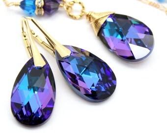Royal Blue Purple Jewelry Set Gold Necklace Earrings Swarovski Crystal Jewelry Plum Cobalt Pear, Gold Bridal Bridesmaids Wedding Jewelry