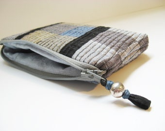 Small Silk Zipper Pouch, Colorblock gray and blue, Silk patch bag, Quilted patchwork bag, OOAK