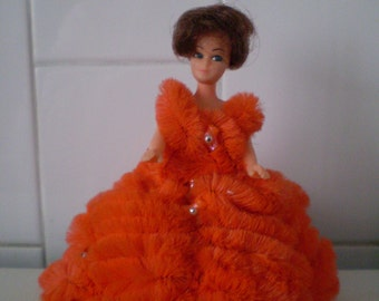 """Vintage 5.5"""" PIPE CLEANER doll, Handmade/crafted Chenille Doll"""