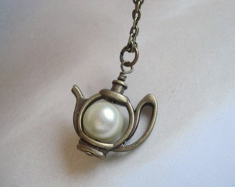 Teapot Necklace Brass Teapot Pendant Alice's teapot Pearl Necklace Whimsical Jewelry Alice In Wonderland Teapot Jewelry