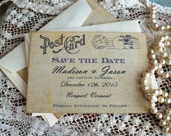 Vintage Postccard Wedding or Anniversary Save the Date Cards Handmade by avintageobsession on etsy
