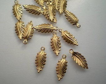 18 tiny brass leaf charms, No. 5