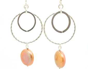 Coin pearl chandelier sterling silver earrings