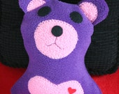 Valentine Purple and Pink Bear with Heart - Bear - Stuffie - Stuffed Animal - Plushie