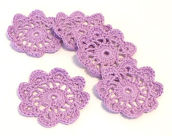 Mini Crochet Doilies in Lavender Embellishment Applique Doily Flower