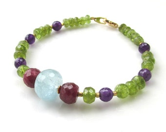Natural Gemstone Bracelet - Aquamarine Ruby Peridot and Amethyst - Faceted Beads