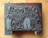Antique PRINTERS BLOCK shows a group of children singing and playing instruments