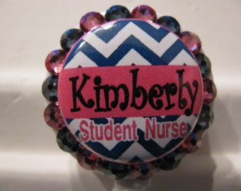Student Nurse ID Badge Holder, Retractable ID Badge Reel,Nursing Student Name Badge Holder, Name Tag Holder, with Swarovski Elements