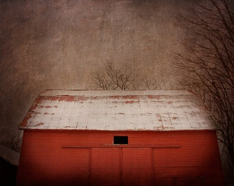 Dark Barn Photography, Moody Landscape, Red Barn, Barn Photograph, Mysterious, Dark Photography, Fine Art Print, Rural Decay, Abandoned