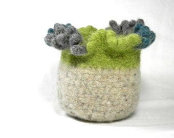 Felted Bowl Planter Gray Tweed with Avocado Teal Funky Accent