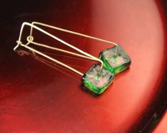 The Emerald Green Glass and Vermeil Rectangle Hoop Earrings