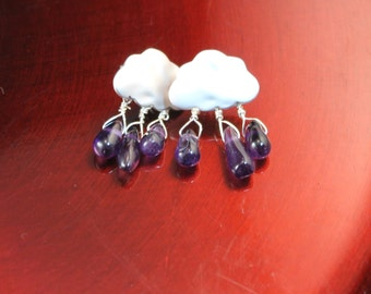 Cute Little Clouds in Silver with Amethyst Drops - Amethyst Briolettes Dangling Fron Matte Silver Plated Cloud Ear Posts
