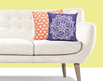 "Moroccan Cushion // Geometric Tile Pillow // Floral Pattern Cushion // 18"" - 45cm Pillow : DISCOUNT SALE CLEARANCE"