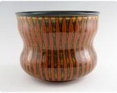 Etched Porcelain Vase With Striped Design   Ceramics Pottery