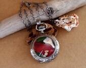 Sea Glass Pocket Watch Necklace/Pendant Antique German Silver Timeless Treasure