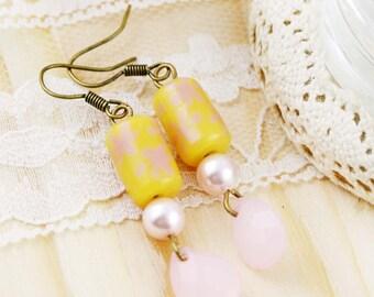 Pink Lemonade dangle earrings - glass beads