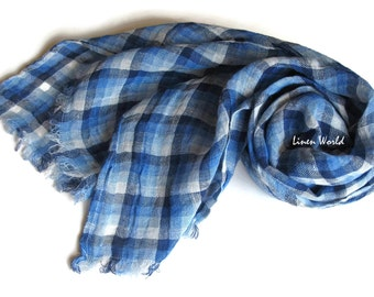 Linen scarf blue plaid, mens scarf blue checkered, natural 100% linen / flax, highest quality