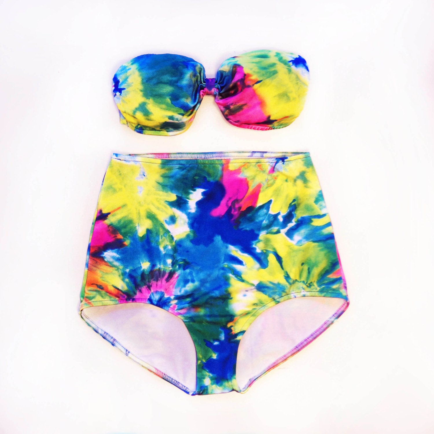 tie dye bathing suit high waisted bandeau swimsuit for
