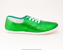 Glitter Kelly Green CVO Canvas Sneakers Shoes