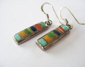 Striped Rectangle Earrings Sterling 925 Stone Inlay Pierced