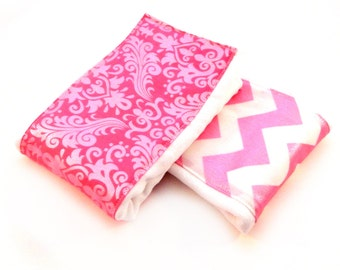 Girl Burp Cloths - Pink White Glitter Chevron Damask - Set of 2