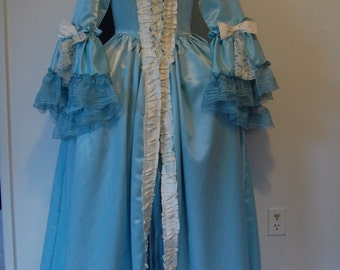 aqua teal /turquoise blue Marie Antoinette Victorian inspired rococo costume dress sack sacque back