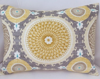 Medallion Pillow Cover Grey Yellow Pillow Decorative Throw Pillow Cushion Accent Pillow Gray Yellow Lumbar Pillow