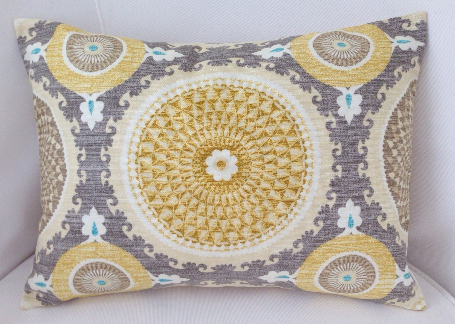 Yellow And Grey Throw Pillow Covers : Medallion Pillow Cover Grey Yellow Pillow Decorative Throw