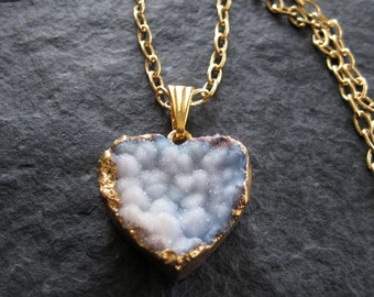 Small Tender Blue Druzy Heart Shaped Agate Pendant Necklace