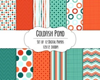 Goldfish Pond Digital Scrapbook Paper 12x12 Pack - Set of 12 - Polka Dots, Chevron, Stripes - Instant Download - Item# 8242