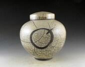 Ceramic Urn, Pet Urn, Keepsake Urn or Lidded Jar Crackle Raku Urn with the Continuum of Life Emblem