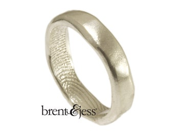 Narrow Organic Edge Fingerprint Wedding Band with a Tip Print on the Inside in Sterling Silver, Fingerprint Ring
