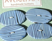 Handmade Oval Buttons Stripy Polymer Clay Blue and Black