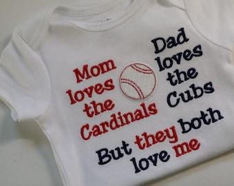 House Divided, Cardinals, Cubs t shirt, baseball shirt. embroidered shirt, baby gift, sports rivals