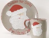 Cookies for Santa Plate AND Mug - Santa Snack Set - Personalized Christmas Set - Santa Treats and Cup Set - Personalized Cookies for Santa