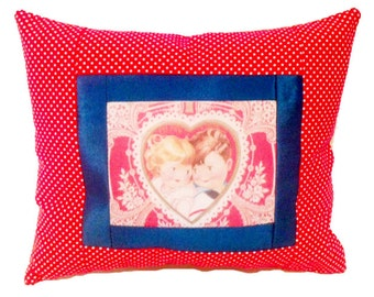 I Love You Postcard Pillow- Hearts