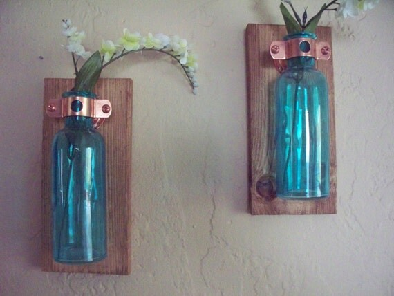 Wall decor set of 2 colored glass bottles on recycled by for Colored bottles for decorations