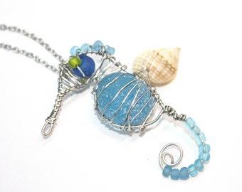 Eco friendly One Of A Kind Handmade wire wrap Seahorse Blue sea glass with Stainless steel wire on a stainless steel necklace chain B6