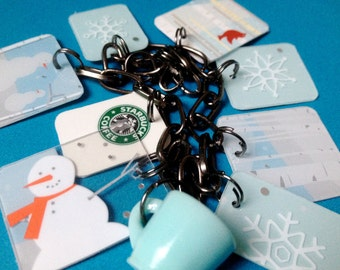 FREE SHIPPING - upcycled snowman Starbucks charm bracelet