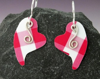 Pink Gingham Hearts- Sterling Silver and Recycled Gift Card Earrings